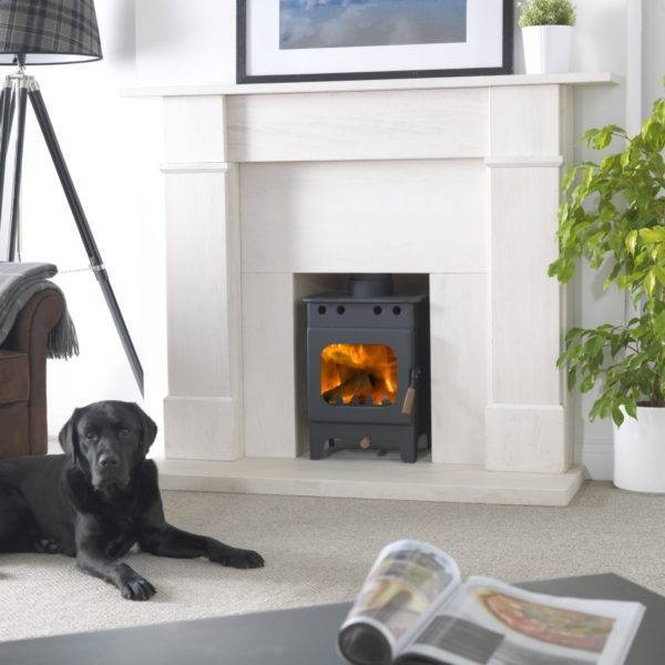 Fireball Springdale small burner in black in solid marble fireplace