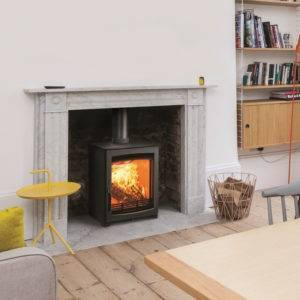 Aspect 5 lit in marble fireplace