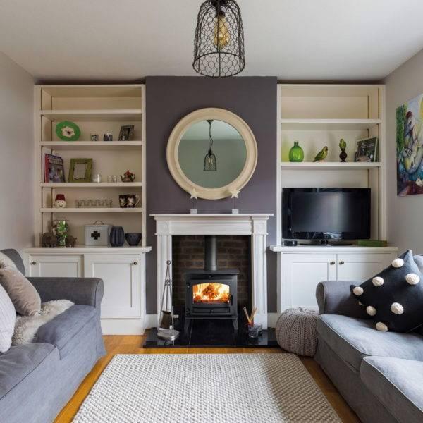 avalon 5 slimline burner in brick fireplace