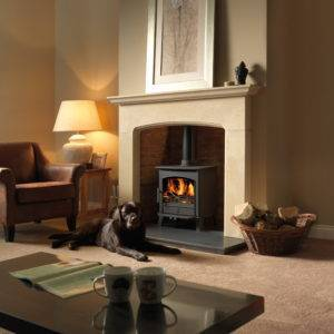 Earlswood in black in brick fireplace