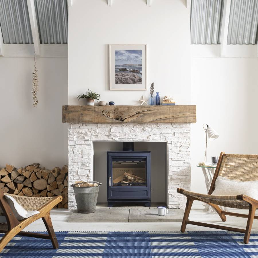Ecoburn 5WS A1 in ATLANTIC in solid stone fireplace