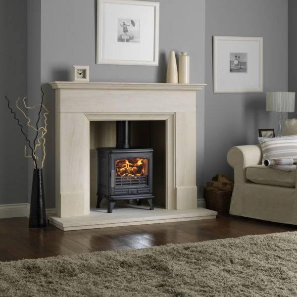 Oakdale lit wood burner in marble effect fireplace