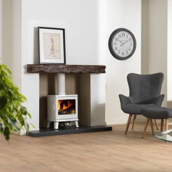 Birchdale white wood burner lit