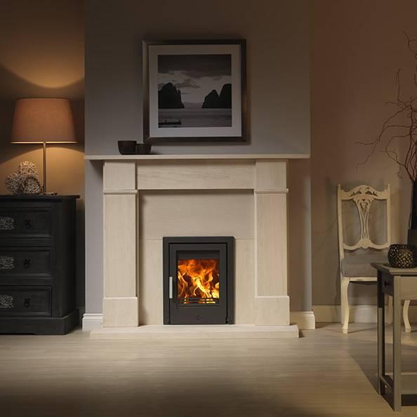 Tenbury inset in fireplace in black